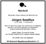 Nachruf – Jürgen Szwillus